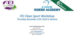 Lecture on FEI Clean Sport at the Young Riders Academy in Geneva - December 2019